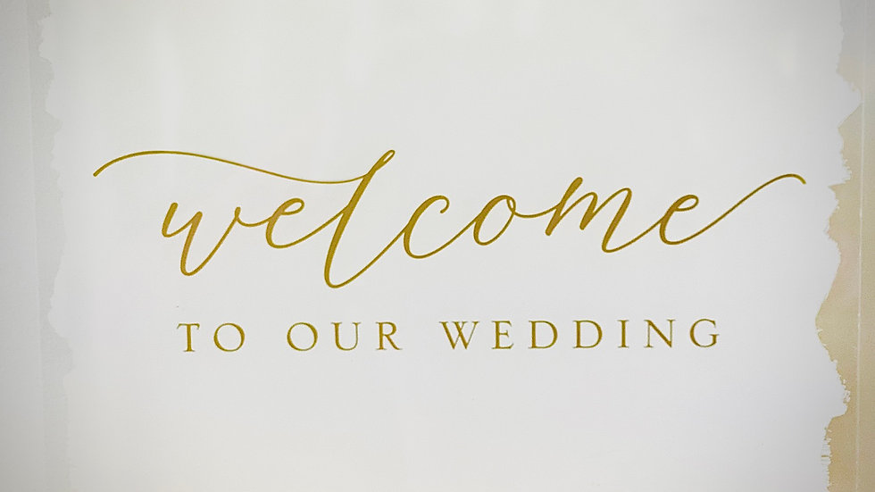 Gold & White Acrylic Welcome Sign