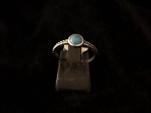 Silver blue stone set ring
