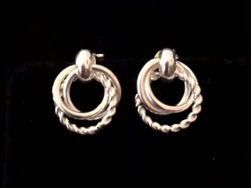 Three ring drop earrings