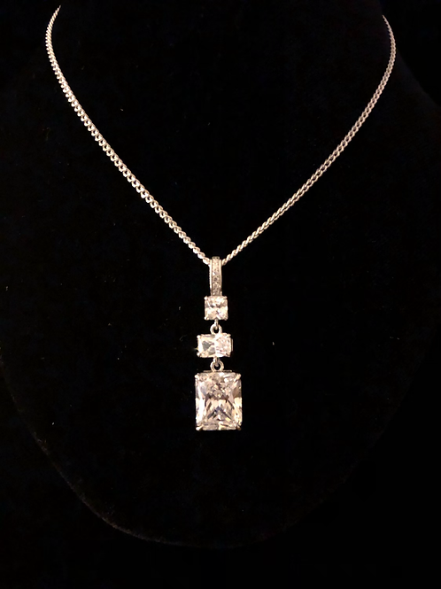 Three square stone set necklace