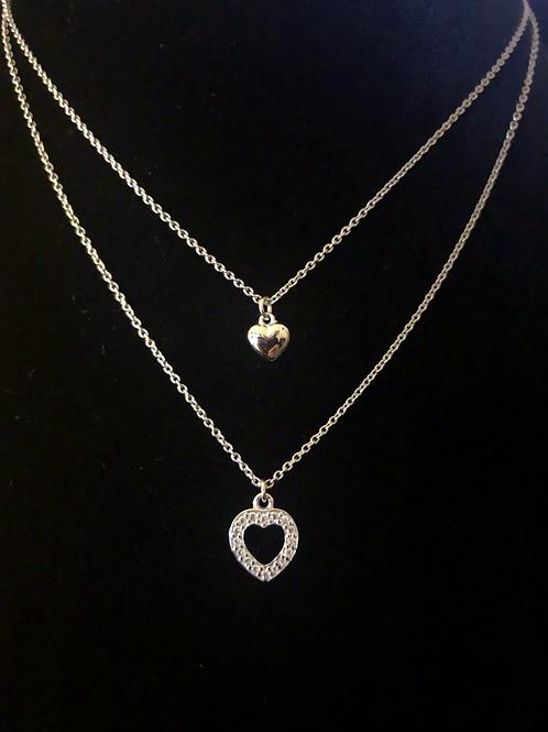 Double chain stone set necklace