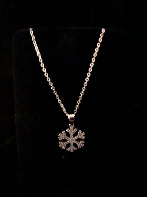 Stone set snowflake necklace
