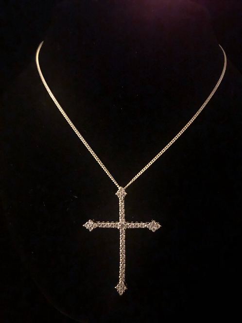 Fancy stone set cross and chain