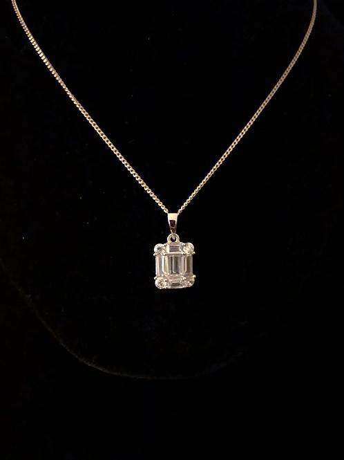 Square stone set necklace