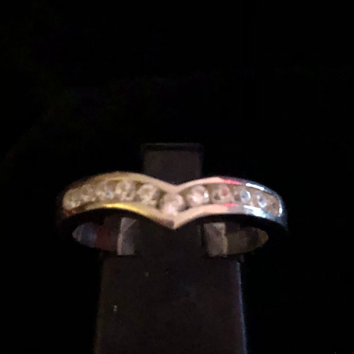 Stone set wish bone ring