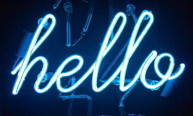 "Light Neon Blue ""hello"" sign on a Blank Background"