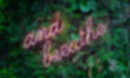"Red Neon ""and breath"" sign on a Green Jungle Background"