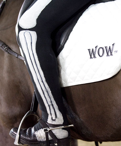 rider in skeleton body suit, sponsored by Wow saddles