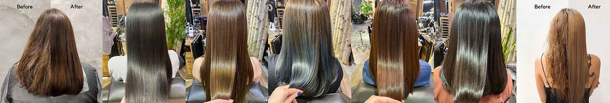 Before and after hair transformations with Naturia keratin treatment and cinderella treatment