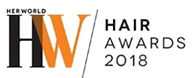 Logo of HerWorld Hair Awards 2018 where Naturia keratin treatment & cinderella treatment received accolades