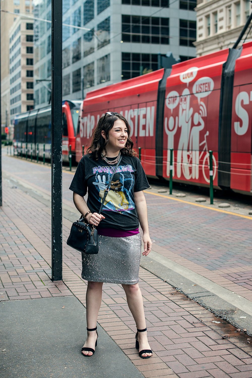 Houston Personal Stylist pairs a graphic tee with sequin skirt for Spring