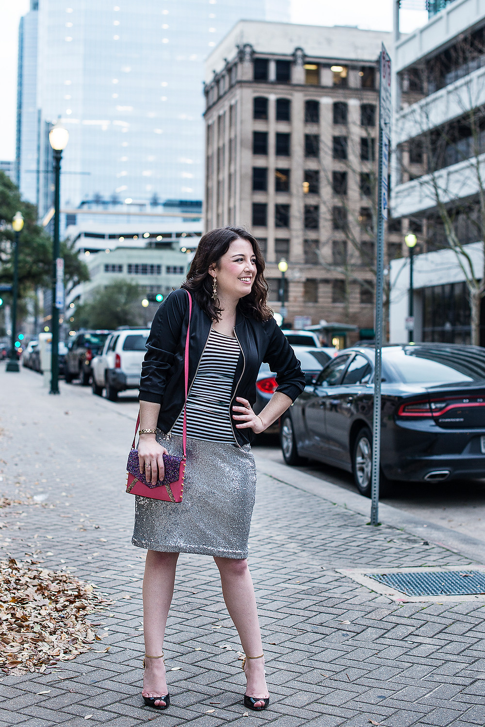 Wardrobe Stylist in Houston pairs stripes and sequins