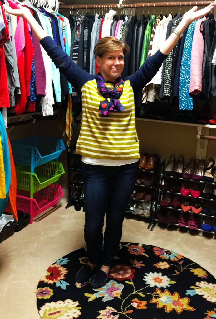 Ashley Kahn, Wardrobe Stylist, sorts and organizes a client's closet in Houston, Dallas, Austin, San Antonio Texas.