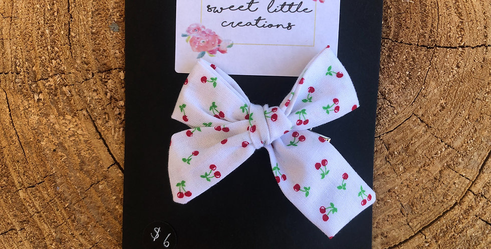 Cherry Print 'Kinley' Bow