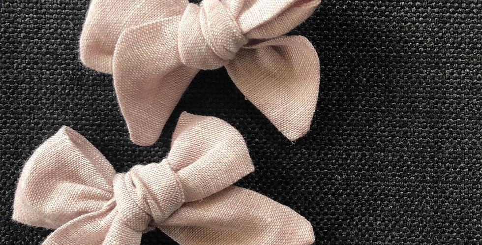Dusty Pink Knot Bow Piggytail Set
