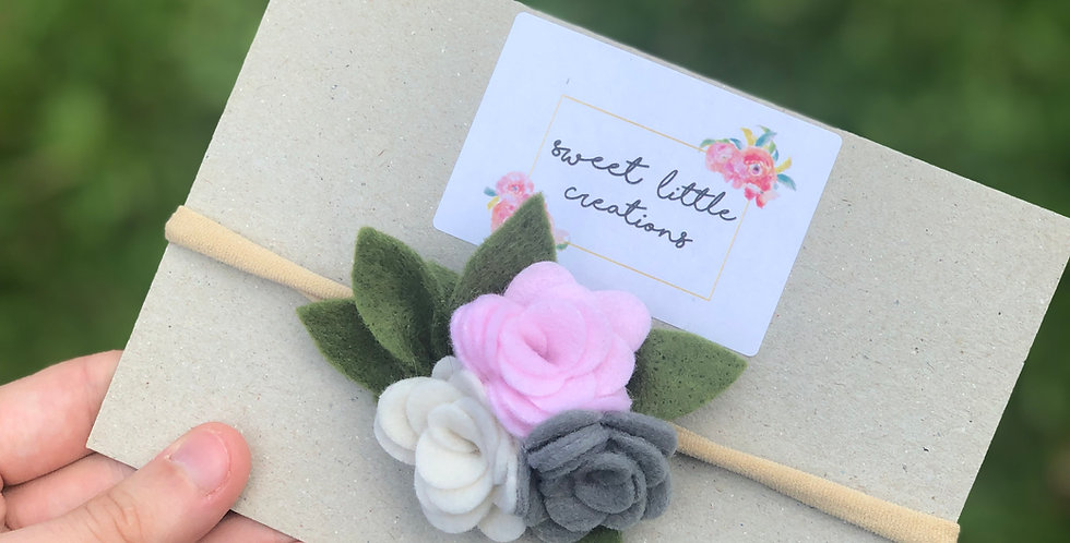 Pink, Cream and Grey Felt Flower Headband