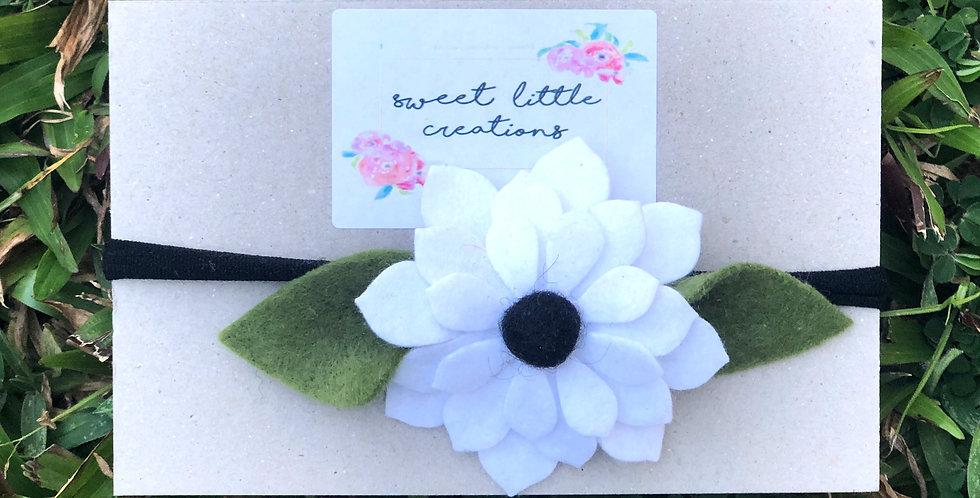 White and Black Felt Flower