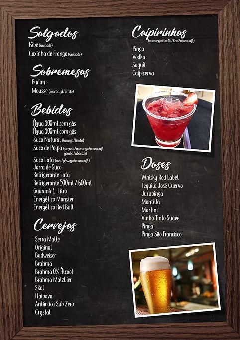 Cardápio (salgados, sobremesas, cipirihas, bebidas, doses e crvejas)