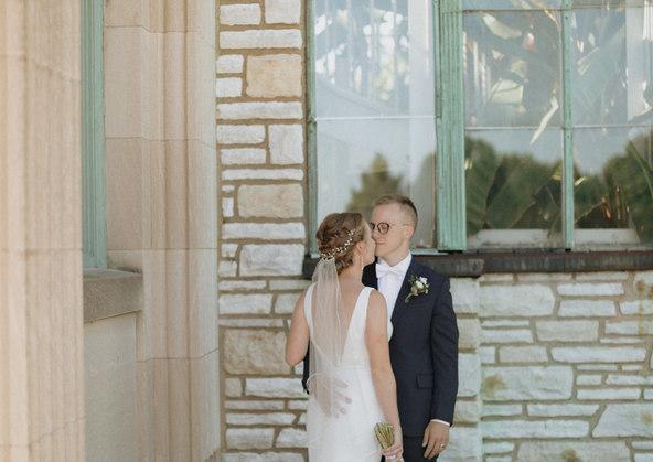 Bride and groom candid wedding photo