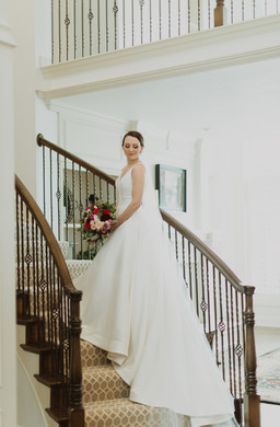kc wedding photographers - Photoshoot of bride on stairs