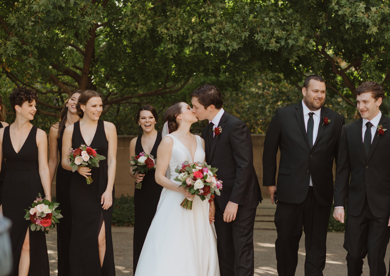 Brides maids and Best men pose for KC Wedding photographer