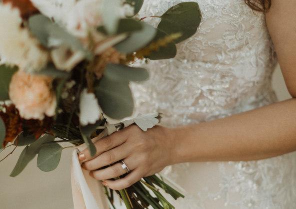 Beautiful Boquet and wedding dress