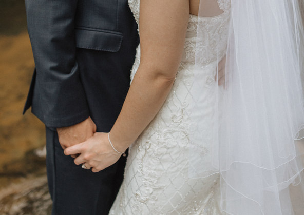 Bride & Groom candid on wedding day