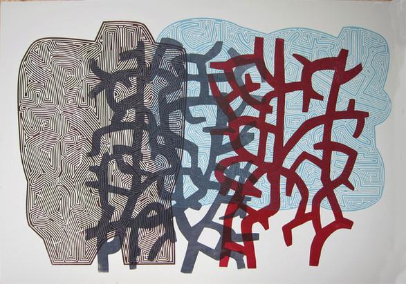 Line With / Møte i krattet / 70 x 100 cm / tresnitt / 5 ex / Kr 3000