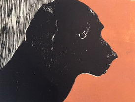 I min Hunds Øje sænker jeg mine Sorger som i en dyb Brønd / Marianne Gihle / tresnitt / 30 x 40 cm / Kr 2 500