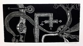 Risto Holopainen / Dødsdrift / 42 x 23 cm / Tresnitt/ opplag 6 ex / Kr 1300