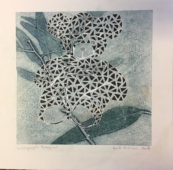 Merete Hansa / Eukalyptusblader / 20 x 20 cm / bearbeidet kollografi, monotypi / kr 1000