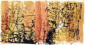 Anne Marie Kommisar / Skrifttegn IV / silketrykk og chine collé / 26 x 47 cm / 2.500 kr