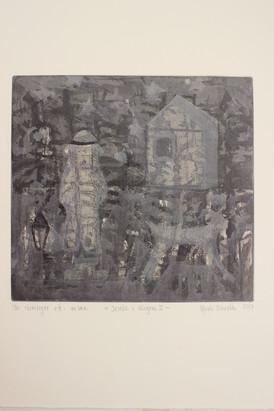 Randi Finseth / Jente i skogen 2 / Etsning / 21 x 23 cm / Kr 2.300