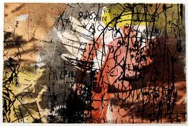 Anne Marie Kommisar /  Lotus / silketrykk og chine collé / 18 x 28 cm  / 2.500 kr