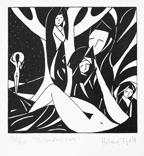 Helene Fjell / Fullmånenatt / silketrykk / 13 x 13 cm / kr 800