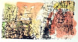 Anne Marie Kommisar / Skrifttegn XIII / silketrykk og chine collé / 26 x 47 cm / 2.500 kr