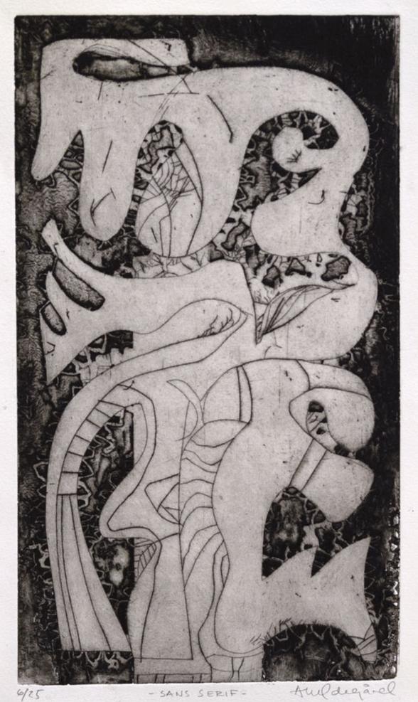 Anne Kari Ødegård / Sans serif / etsning, akvatint og radering / Motivformat 15 x 25,5 cm / Opplag 25 ex / kr 2.100