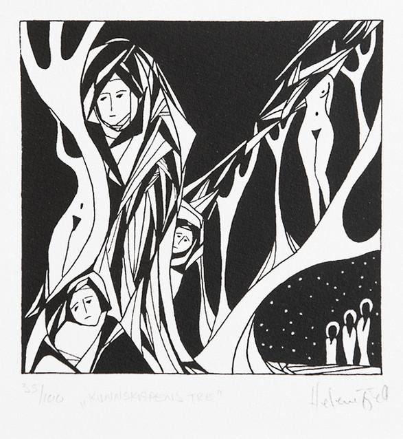 Helene Fjell / Kunnskapens tre / silketrykk / 13 x 13 cm / kr 800