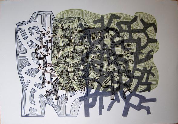 Line With / Kratt går / 70 x 100 cm / tresnitt / 5 ex / Kr 3000