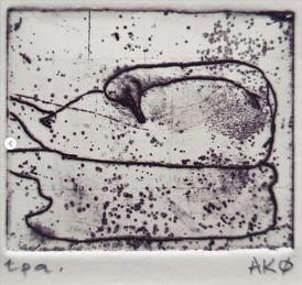 Anne Kari Ødegård / Speiling / etsning / 4 x 4,5 cm / opplag 5 / kr 800
