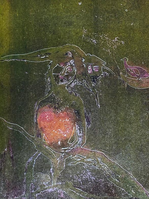 Astrid Brodtkorb / Hjerte / Fargeetsning / 26 x 30 cm /  kr 2100