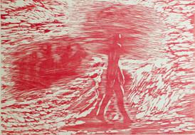 Louise Hedemark / Gående mann / tresnitt / 60 x 75 cm / kr 6.000