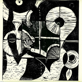 Risto Holopainen / Kvadrat/ Linosnitt / 20 x 20 cm / opplag 11 / Kr 1500