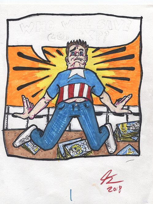 Ken Eppstein Sketchbook Art Page: Comic Book Collector 1