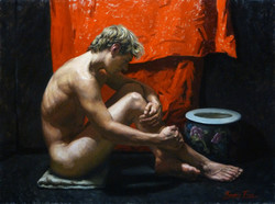 Male Nude in Red & Black