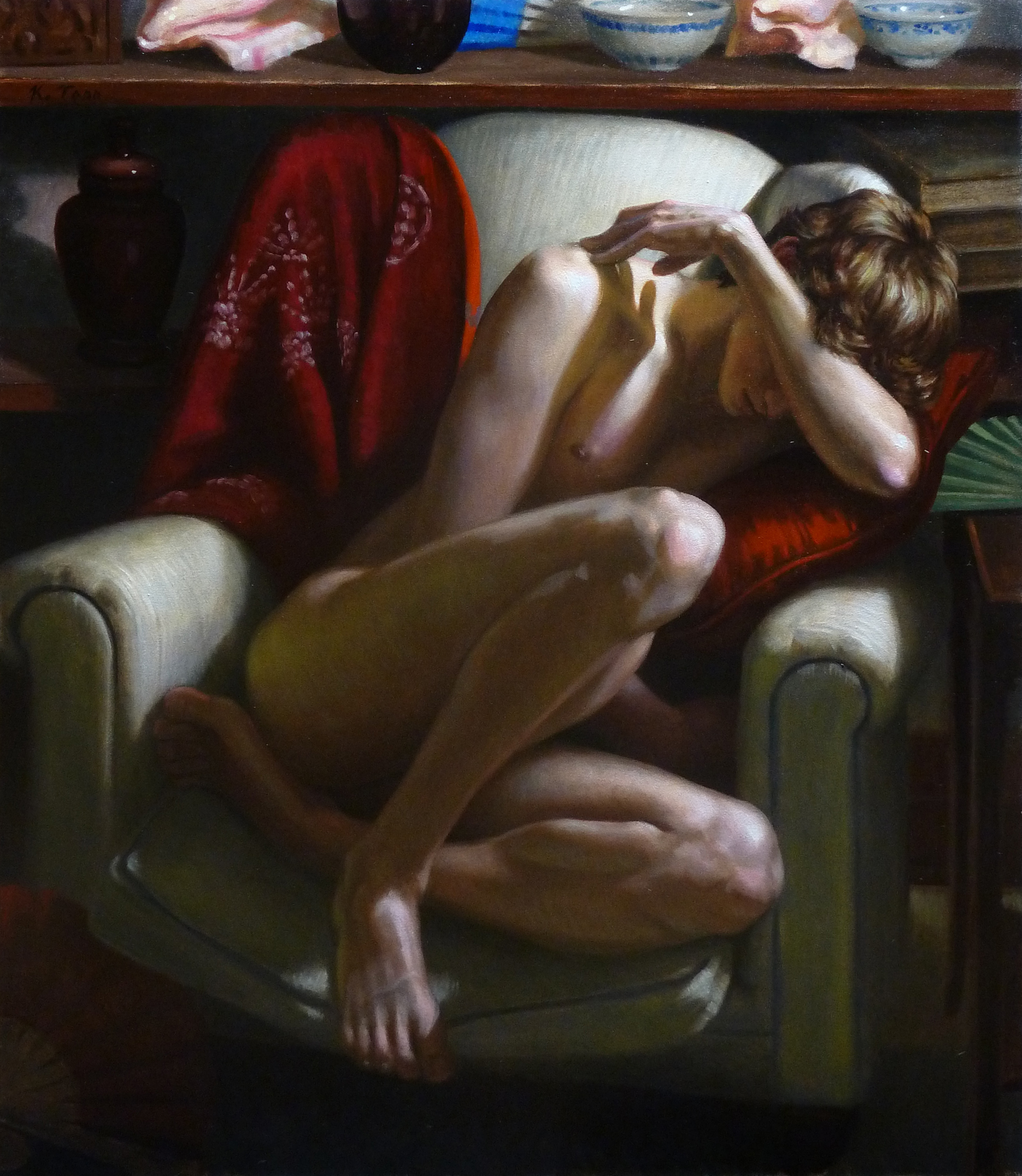 Male Nude Curled in Chair