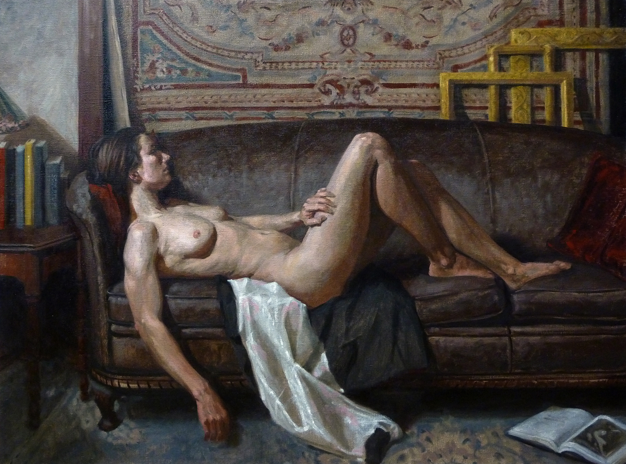 Reclining Female Nude in Studio
