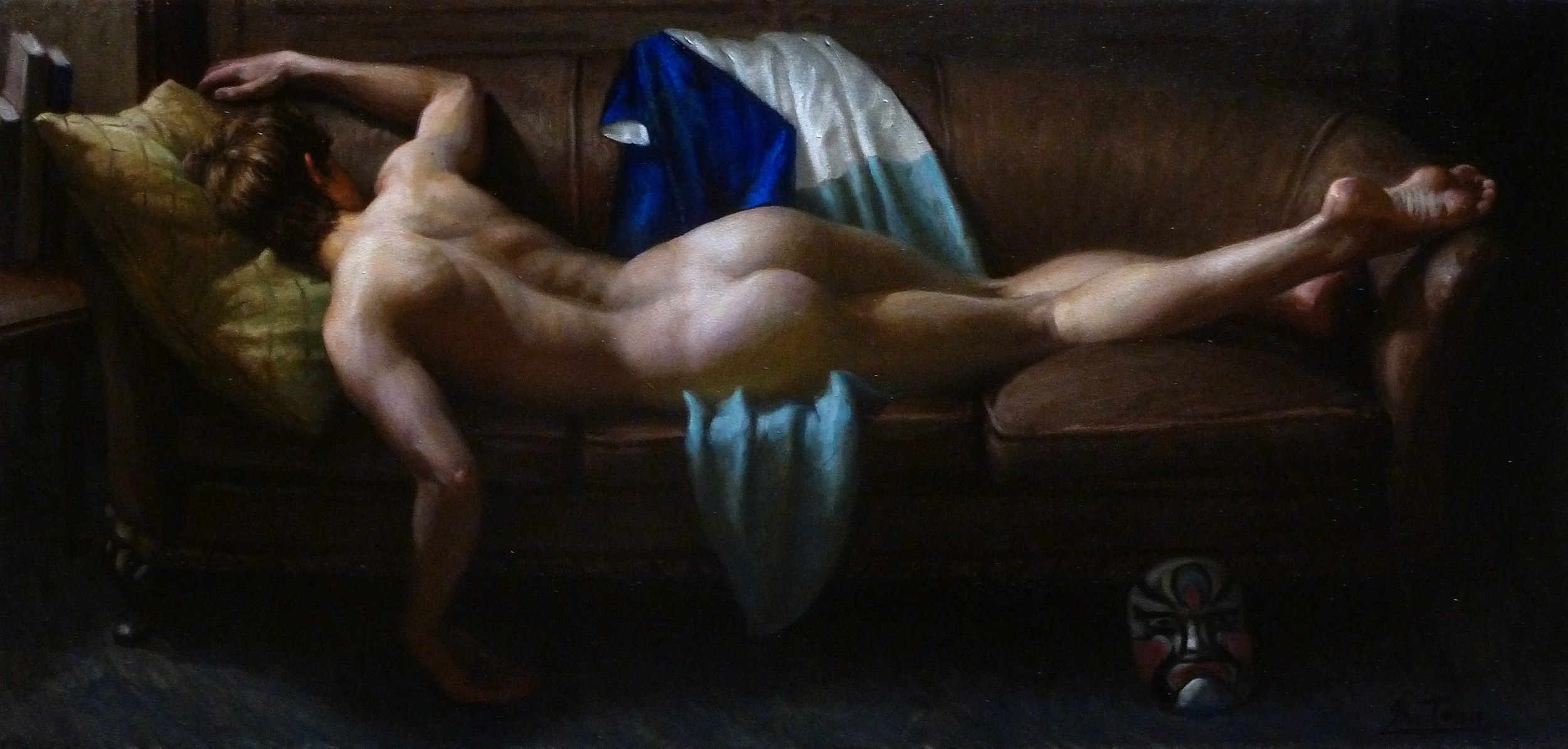 Reclining Male Nude with Blue Kimono