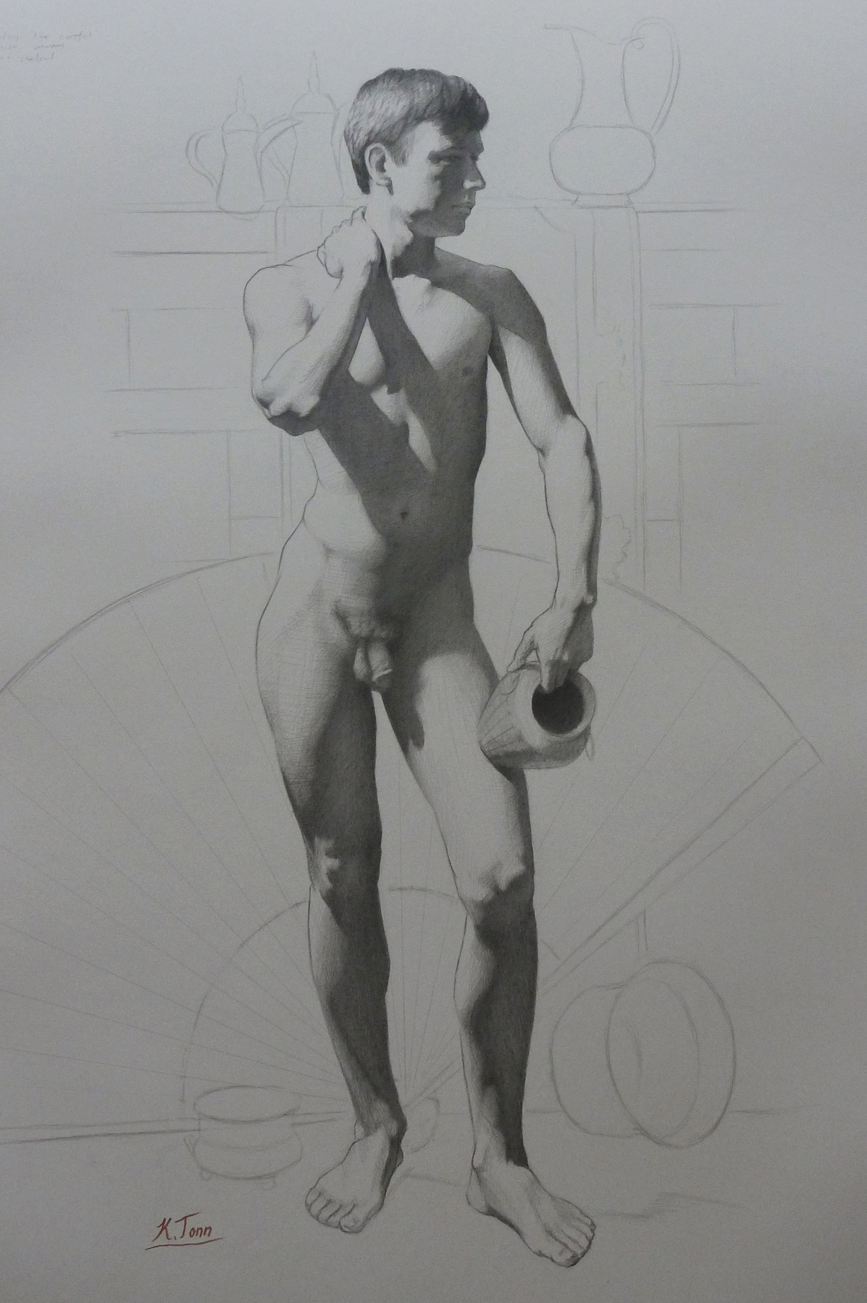 Study of J, Standing, With Vase