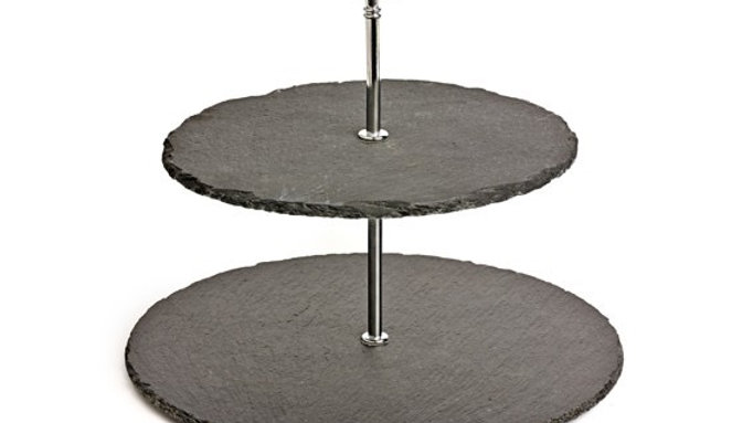 Two tier natural slate cheese stand